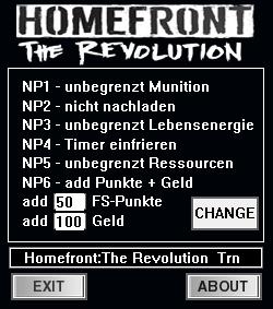 Homefront - The Revolution Чит трейнер [+8] (all)