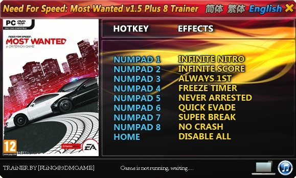 Need for Speed - Most Wanted (2012) Чит трейнер [+8] (1.5)