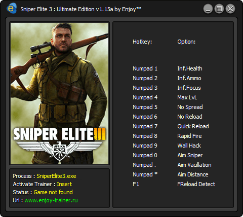 Sniper Elite 3 - Ultimate Edition Чит трейнер [+13]
